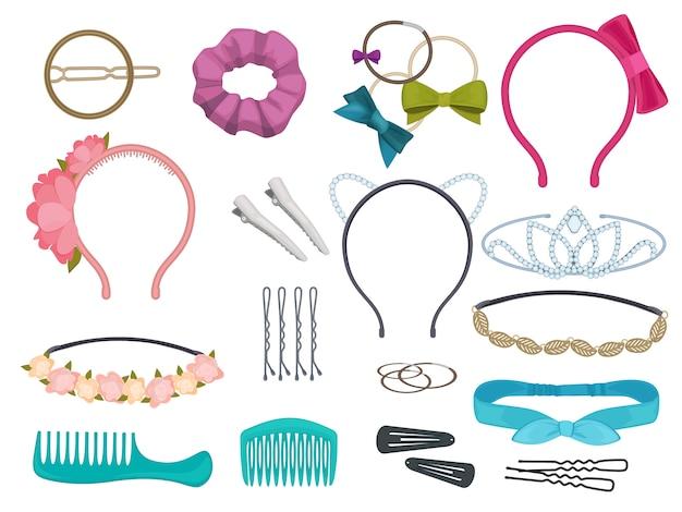 Acessórios de cabelo. itens de cabelo de mulher estilista salão flores faixas elásticas arcos aros cartum ilustrações