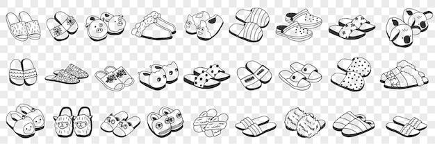 Acessórios de chinelos para conjunto de doodle em casa