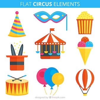 Acessórios de circo em estilo plano