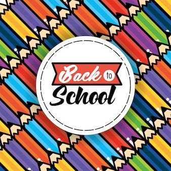 Acessórios de cores de lápis para fundo de escola
