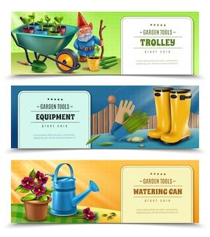 Acessórios de equipamento de ferramentas de jardineiro 3 banners coloridos horizontais com regador de carrinho de mão wellingtons