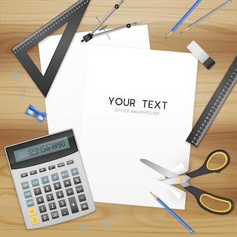 Acessórios de escritório e folha de papel em branco com modelo de texto