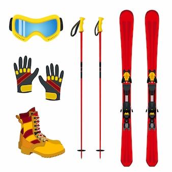 Acessórios de inverno para esportes radicais - esqui, luvas, botas