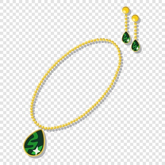 Acessórios de jóias de ouro: colares e brincos com pedras verdes.