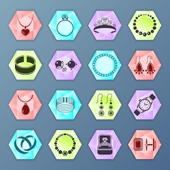 Acessórios de jóias moda ícones de hexágono conjunto isolado
