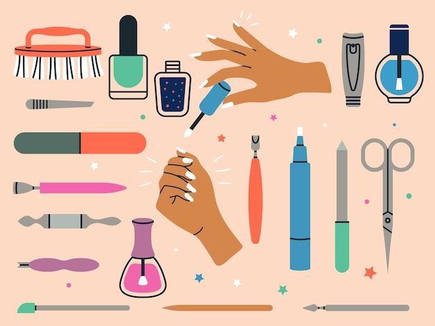 Acessórios de manicure. ferramentas de pedicure feminina salão de beleza feminino unha cutícula vector cartoon ilustrações. ferramentas de beleza e esmaltes para unhas, acessórios profissionais