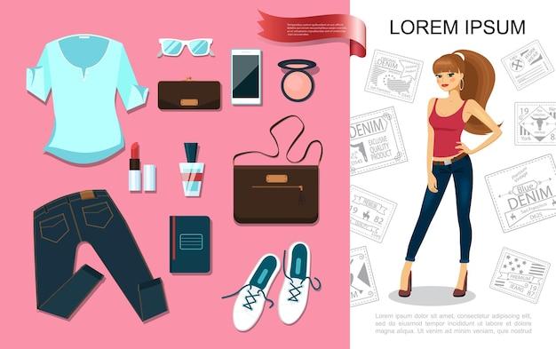 Acessórios de moda plana com uma linda mulher vestindo camiseta jeans e ilustração de elementos da moda feminina