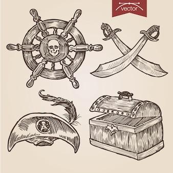 Acessórios de pirata definidos no estilo de gravura à mão