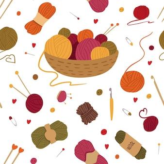 Acessórios de tricô padrão sem costura cesta com novelos de fios novelos agulhas artesanais crochê