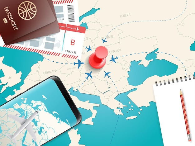 Acessórios de viagem. conceito de férias