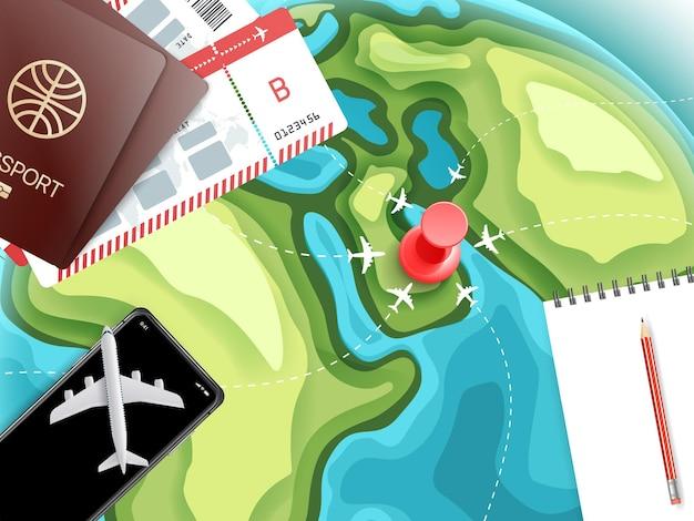 Acessórios de viagem conceito de férias