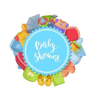 Acessórios do bebê em forma redonda e lettering