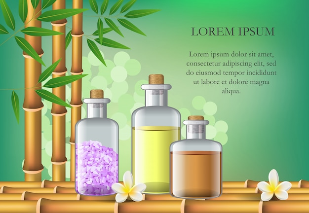 Acessórios do salão de beleza dos termas, bambu e texto da amostra. cartaz publicitário