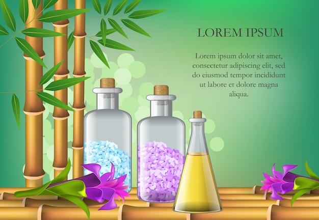 Acessórios do salão de beleza dos termas, flores e texto da amostra. cartaz publicitário