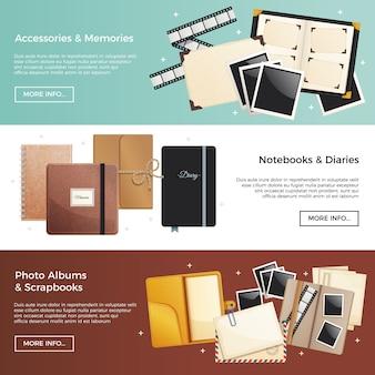 Acessórios e memórias banners horizontais com álbuns de fotos scrapbooks cadernos diários elementos decorativos