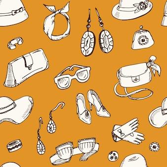 Acessórios femininos padrão sem emenda de doodle desenhado à mão