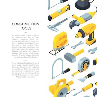 Acessórios isométricos de ferramentas de construção