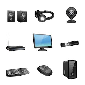 Acessórios para computador e ícones periféricos pretos, conjunto de ilustração vetorial isolada