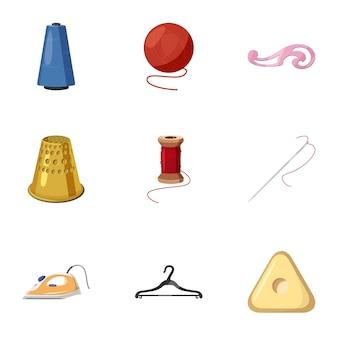 Acessórios para o conjunto de ícones de oficina de costura