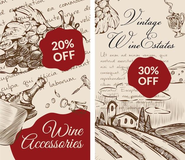 Acessórios para vinho e desconto percentual