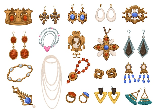 Acessórios retro e vintage e joias para senhora, brincos e colares isolados, broches e pulseiras, pingentes e pingentes. tesouros de ouro e prata para pessoas nobres. vetor em estilo simples