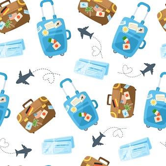 Acessórios temáticos de desenho animado, viagens ou férias com padrão sem emenda de viagens