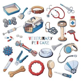 Acessórios veterinários para cães e gatos de cuidados. vetor.