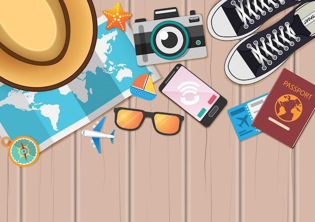 Acessórios viajam ao redor do conceito de mundo.