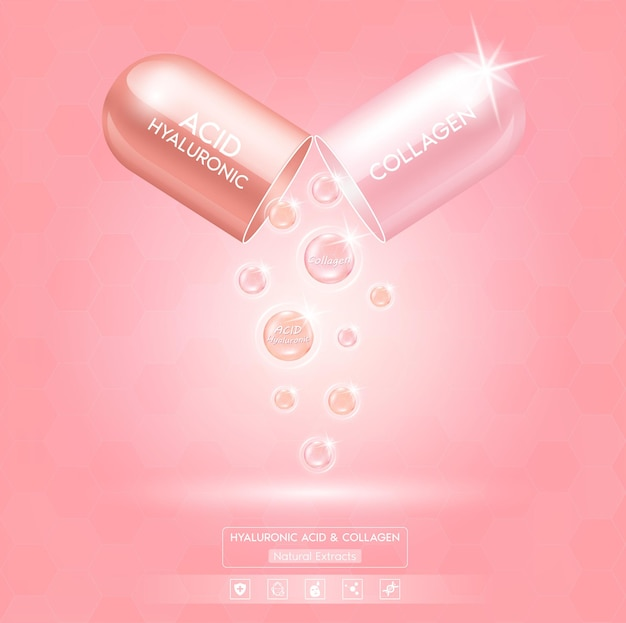 Acid hialurônico e pacote de colágeno rosa com soro de solução de cápsula