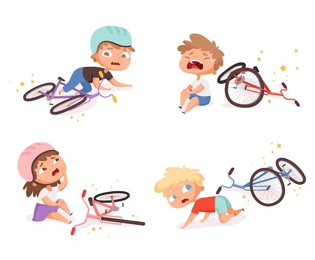 Acidente de bicicleta. crianças caídas danificadas bicicleta quebrada crianças acidentes de transporte ajudando personagens de pessoas.