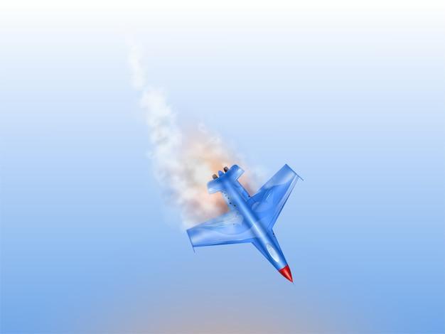 Acidente de caça, aeronaves militares em fogo. avião de combate derrubado