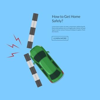 Acidente de carro com vista superior de trilha acima de ilustração