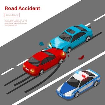 Acidente de carro. ilustração isométrica de acidente de viação