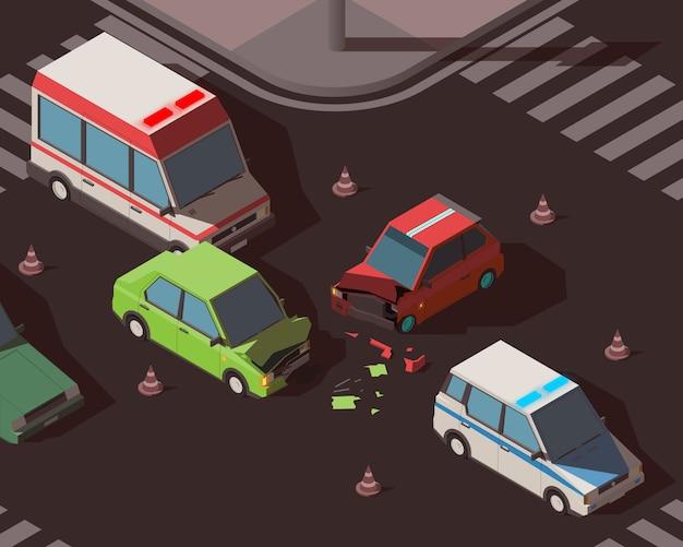 Acidente de carro isométrico