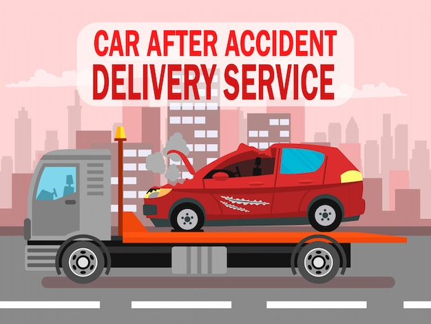 Acidente de carro, modelo de banner da web de serviço de entrega
