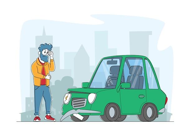 Acidente de carro na estrada, motorista descontente morador personagem masculino parado na beira da estrada
