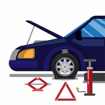 Acidente de carro, pneu furado. trocar pneu com kit de ferramentas de emergência na ilustração plana dos desenhos animados isolada