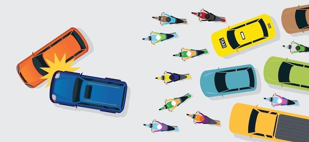 Acidente de carros com engarrafamento de vista superior ou superior