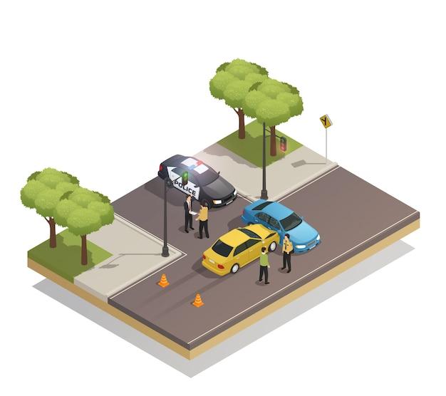 Acidente de colisão de estrada isométrico