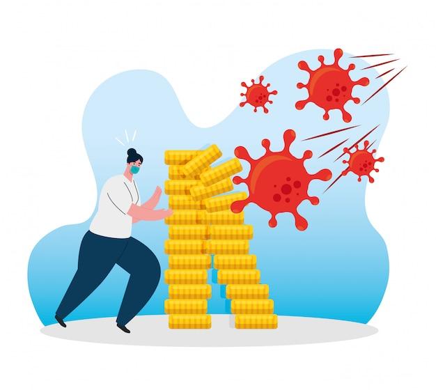 Acidente de coronavírus, colapso da economia, mulher vestindo máscara cirúrgica com moedas de pilha, conceito de falência