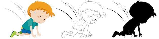 Acidente de menino caiu no outono em cor, silhueta e contorno