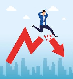 Acidente de mercado de ações com empresário e seta para baixo