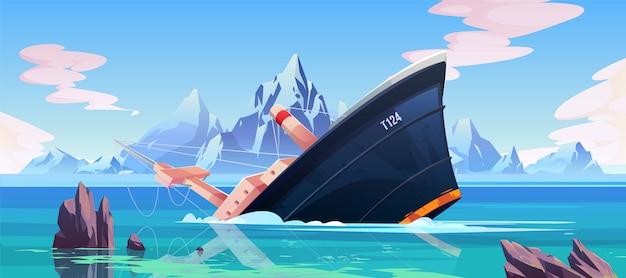Acidente de naufrágio, navio encalhado pia no oceano