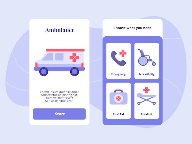 Acidente de primeiros socorros com acessibilidade de emergência de ambulância