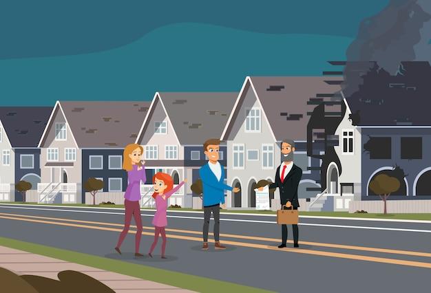 Acidente de seguro do conceito de incêndio em casa familiar