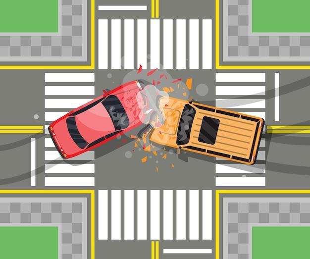 Acidente de viação entre dois carros