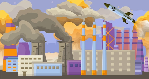 Acidente tecnogênico moderno poluição nuclear contaminação ambiental fumaça ar plana vetor illu ...