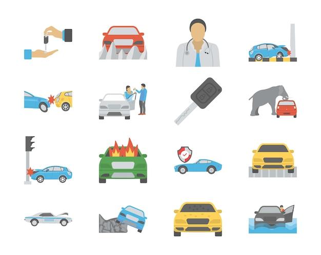 Acidentes de carro e propriedade plana ícones