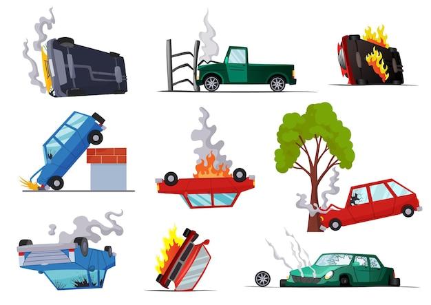 Acidentes em carros rodoviários danificados.