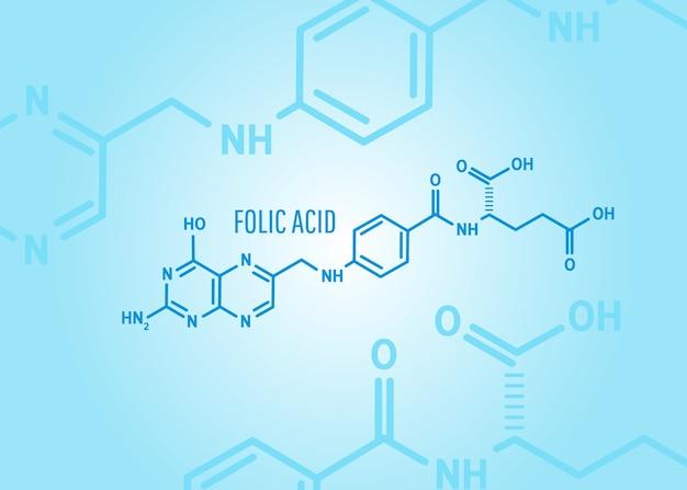 Ácido fólico ou fórmula química de vitamina b9 em um fundo médico azul com moléculas